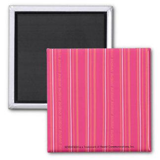 Thin Stripes Magenta Square Magnet