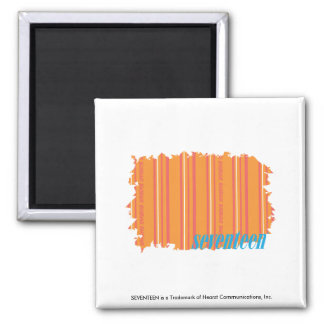 Thin Stripes Orange 2 Square Magnet