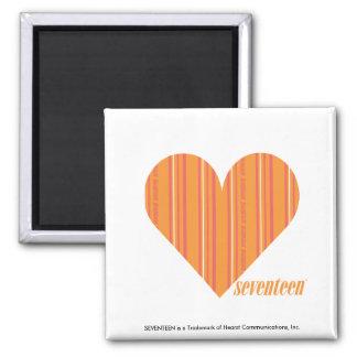 Thin Stripes Orange 3 Square Magnet
