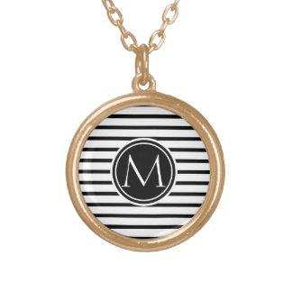 Thin Stripes Pattern Round Pendant Necklace