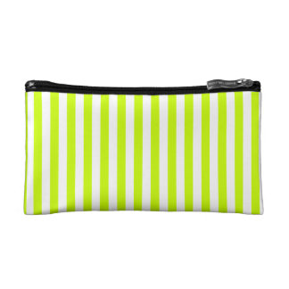 Thin Stripes - White and Fluorescent Yellow Makeup Bags