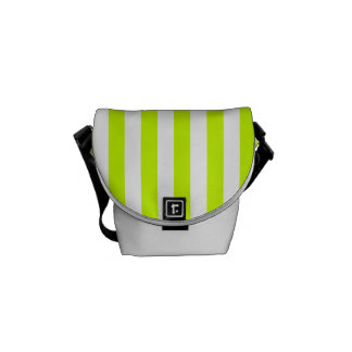 Thin Stripes - White and Fluorescent Yellow Messenger Bag