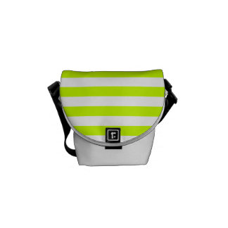 Thin Stripes - White and Fluorescent Yellow Messenger Bags
