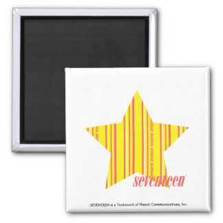 Thin Stripes Yellow 4 Square Magnet