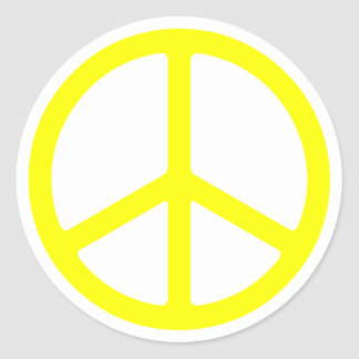 Thin Yellow Peace Sign Classic Round Sticker