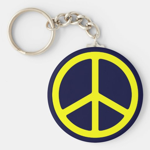 Thin Yellow Peace Sign Keychain