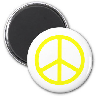 Thin Yellow Peace Sign Fridge Magnet