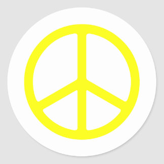 Thin Yellow Peace Sign Round Sticker