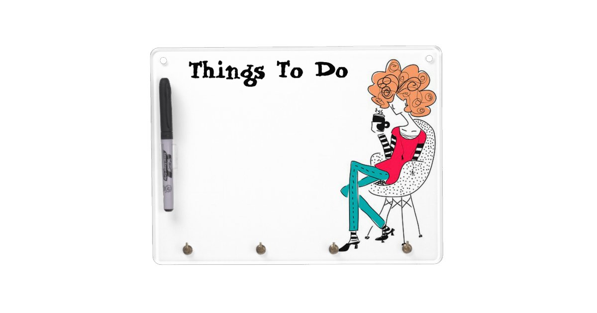 things to do fashion lady dry erase board with key ring