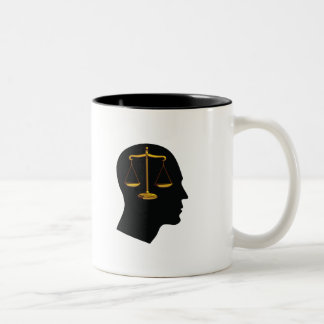 Think About Justice | Law Student Two-Tone Coffee Mug