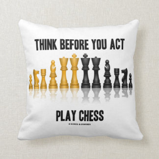 Think Before You Act Play Chess Reflective Chess Cushion