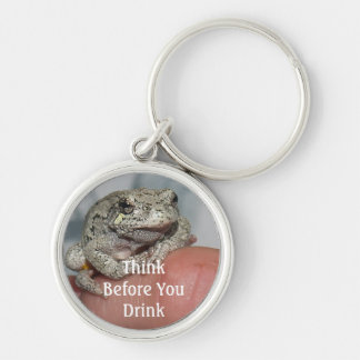 Think Before You Drink Silver-Colored Round Key Ring
