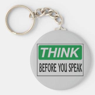 Think before you speak basic round button key ring