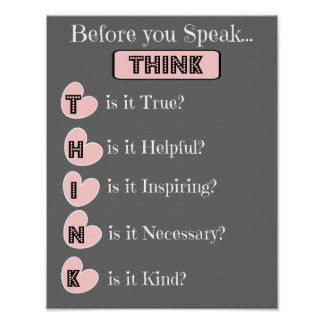 THINK before you speak, Family Poster (pink gray)