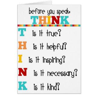 Think Before you Speak Greeting Card