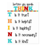 Think Before you Speak Postcards