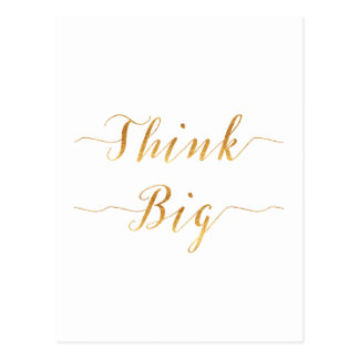 Think Big Quote Gold Faux Foil Quotes White Postcard