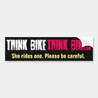 Think Bike She Rides Bumper Sticker