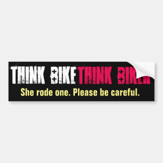 Think Bike She Rode Bumper Sticker