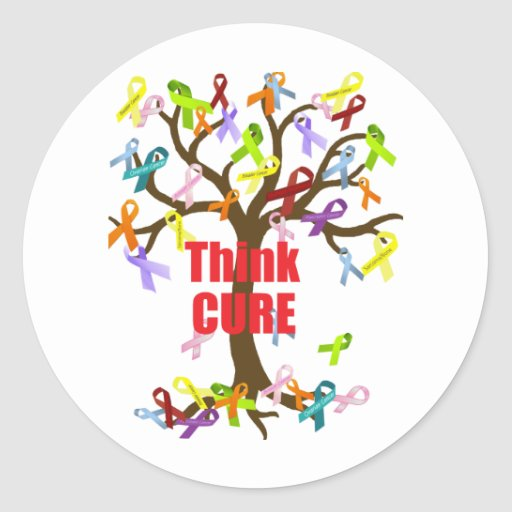Think CURE (2).png Round Stickers