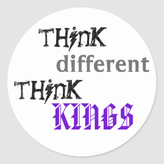 think, different, think, KINGS Round Sticker