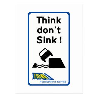 Think Don't Sink, Traffic Sign, UK Postcard