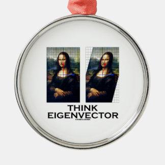 Think Eigenvector (Mona Lisa Restored) Silver-Colored Round Decoration