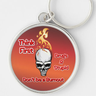 Think First - Burnout Flaming Skulls Silver-Colored Round Key Ring