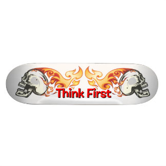 Think First - Dual Flaming Skulls Skate Board