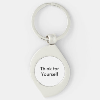 Think for Yourself Keychain Silver-Colored Swirl Key Ring