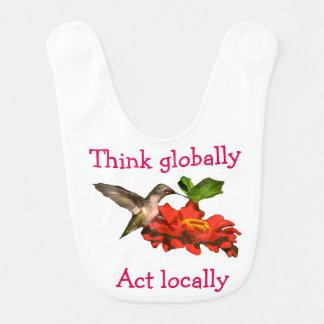 Think Globally Act Locally Hummingbird Bib