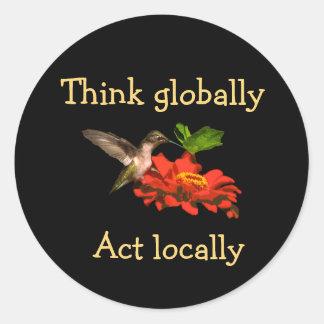 Think Globally Act Locally Hummingbird Sticker