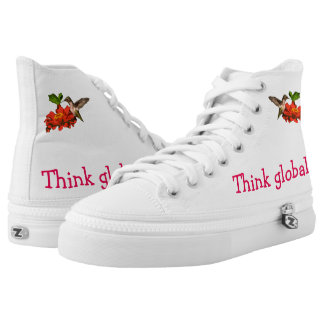 Think Globally Act Locally Red Hummingbird High Tops