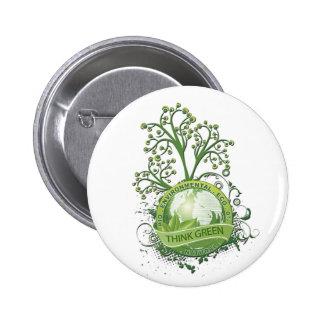Think Green 6 Cm Round Badge