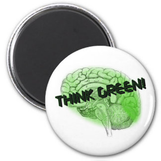 Think Green! 6 Cm Round Magnet