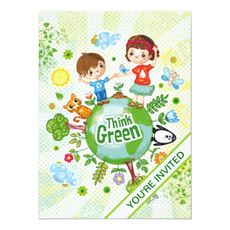 Think Green Awareness Happy Quote 14 Cm X 19 Cm Invitation Card