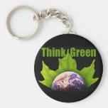 Think Green Basic Round Button Key Ring