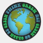 Think Green Be Green Design Round Sticker