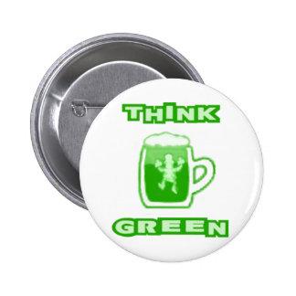 Think Green Beer Mug Button