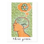 Think Green Brain Power Post Card