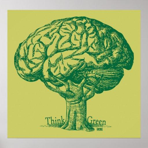 Think Green Brain Tree Poster