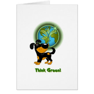 Think Green Bubba Greeting Cards