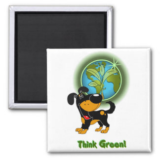 Think Green! - Bubba Square Magnet