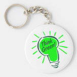 Think Green! Classic Button Keychain