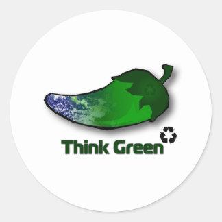 Think Green Classic Round Sticker