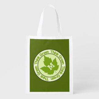 THINK GREEN custom monogram reusable bag