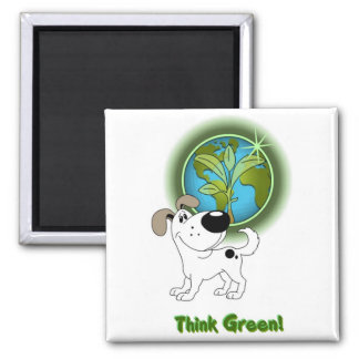 Think Green! (Cutie) Square Magnet