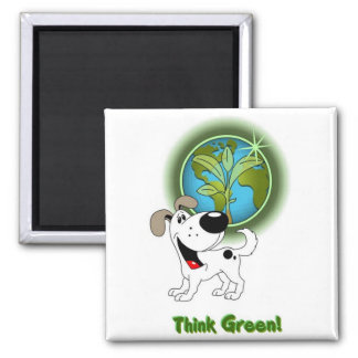 Think Green! - Cutie Square Magnet
