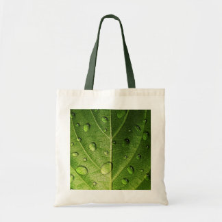 Think Green - Droplets on Leaf Canvas Bags