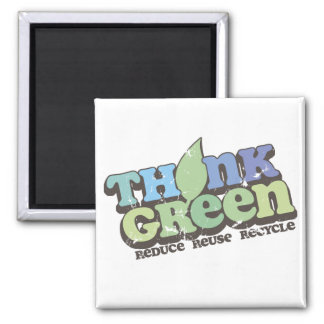 Think Green Earth Day Square Magnet